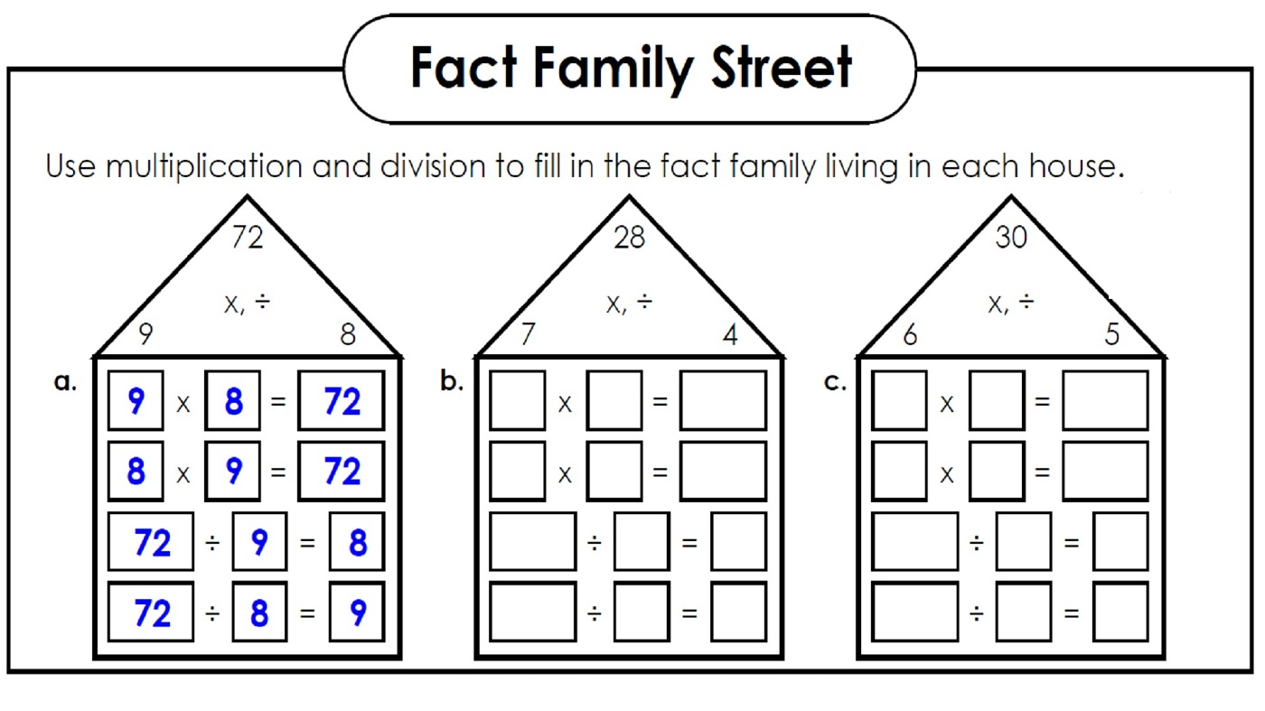 free fact family worksheets fun