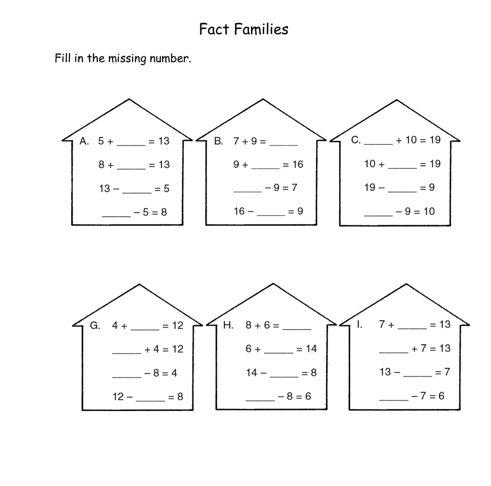 free fact family worksheets practice
