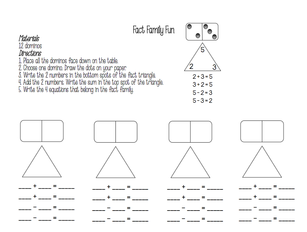 free fact family worksheets printable