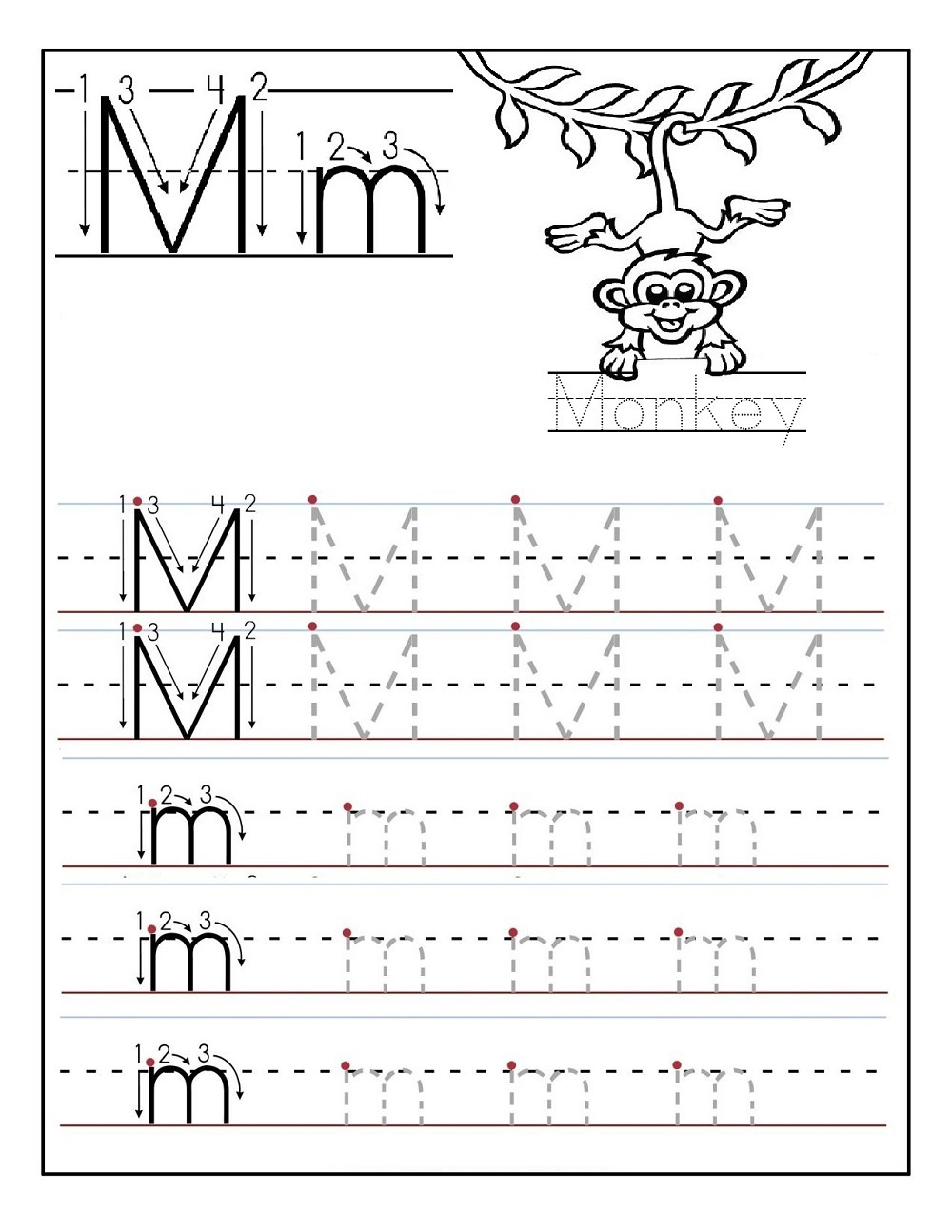 tracing letter worksheets easy