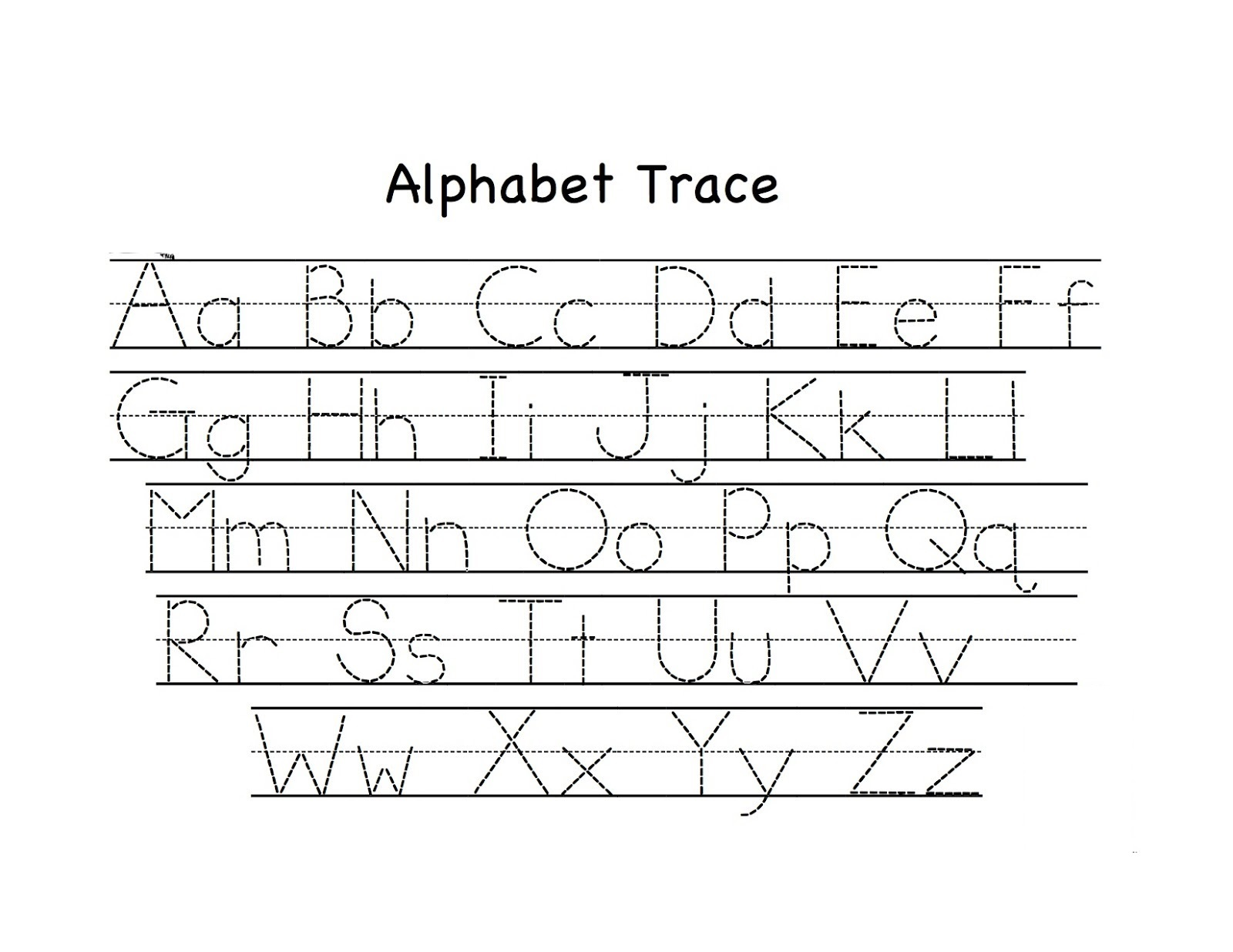 tracing letter worksheets page