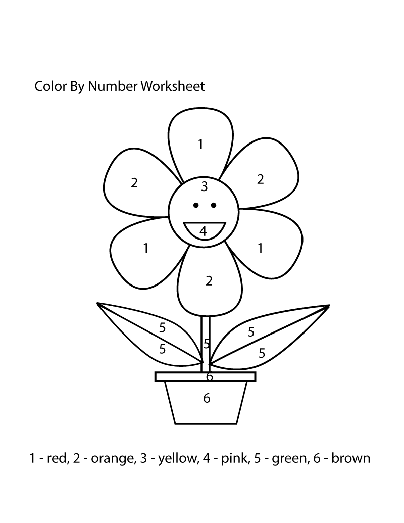 color by number worksheet easy