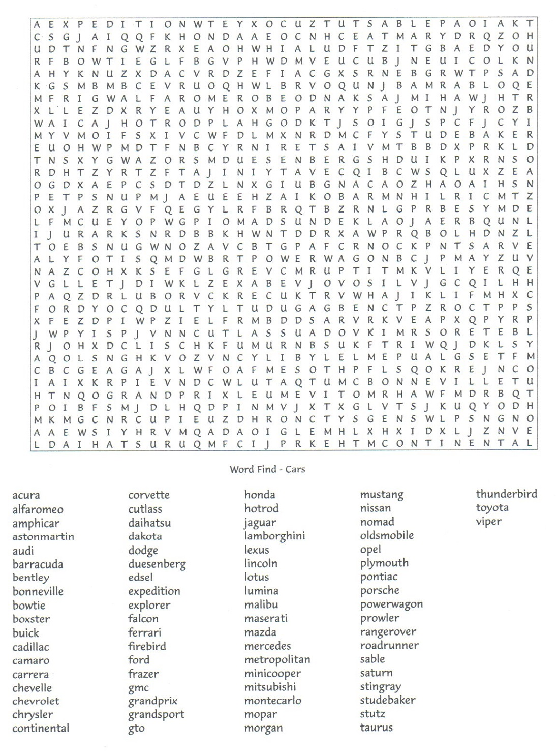 car word search page