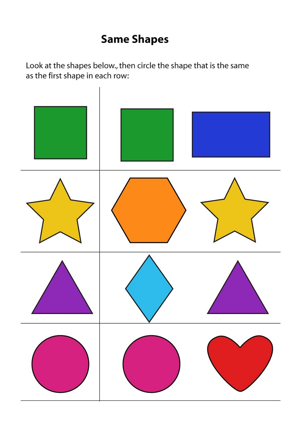 same or different worksheets for kids