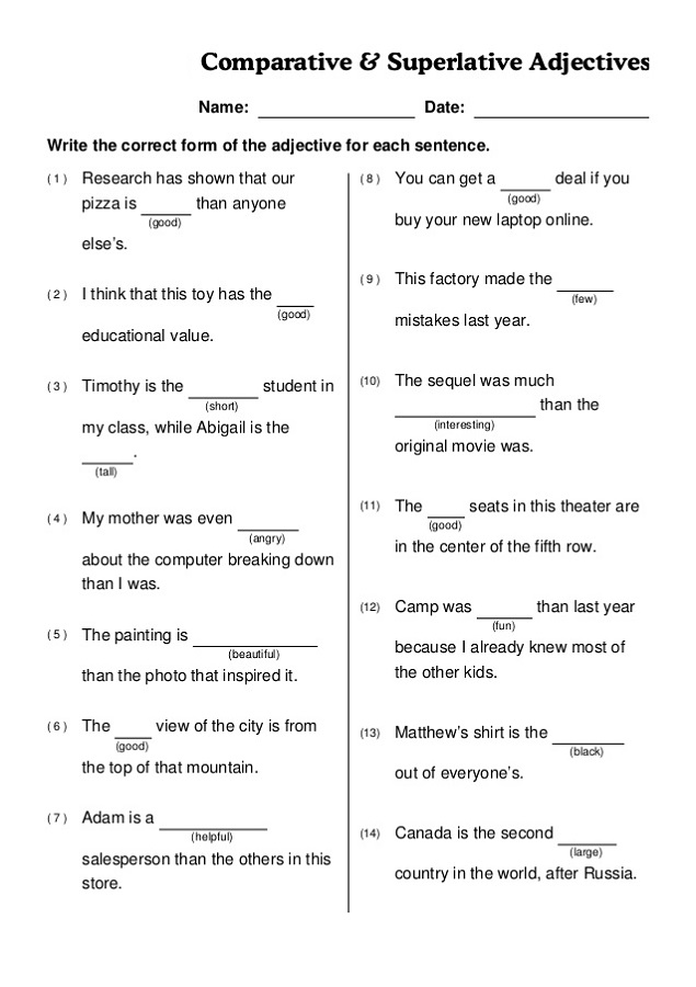Worksheet Works Answers Comparative