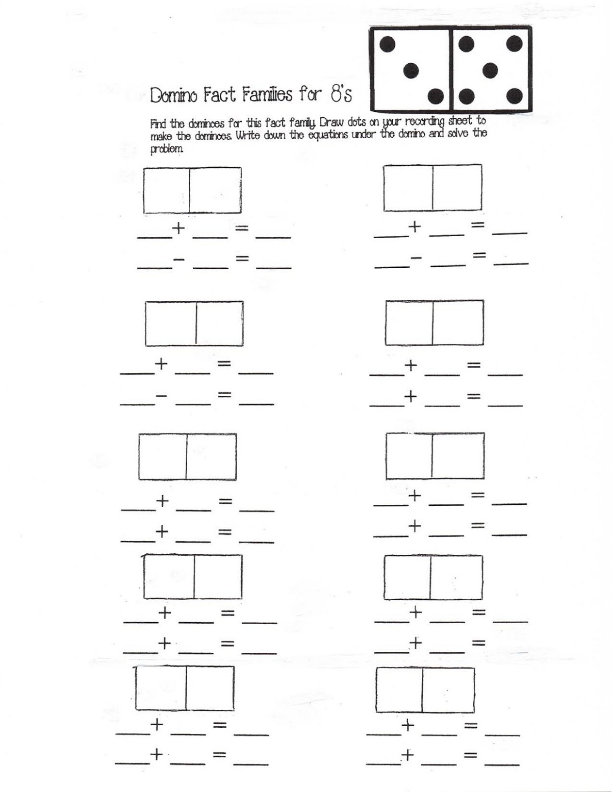 fact family worksheet domino