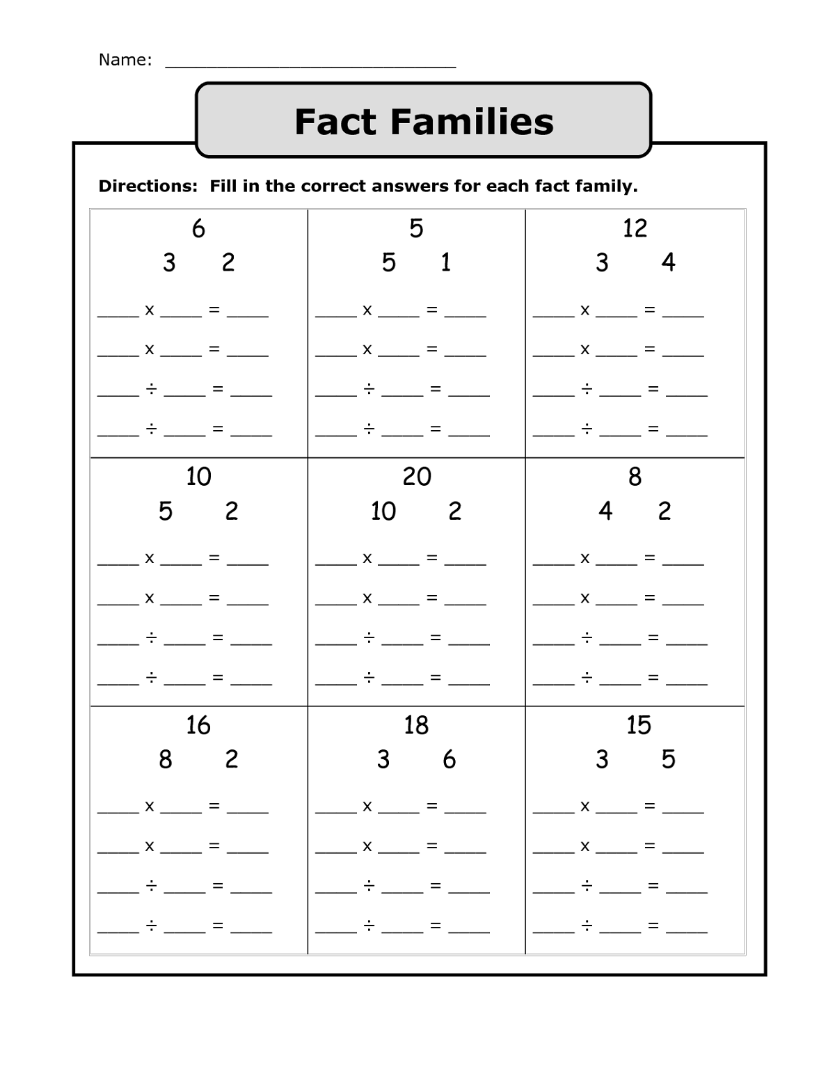 fact family worksheet printable