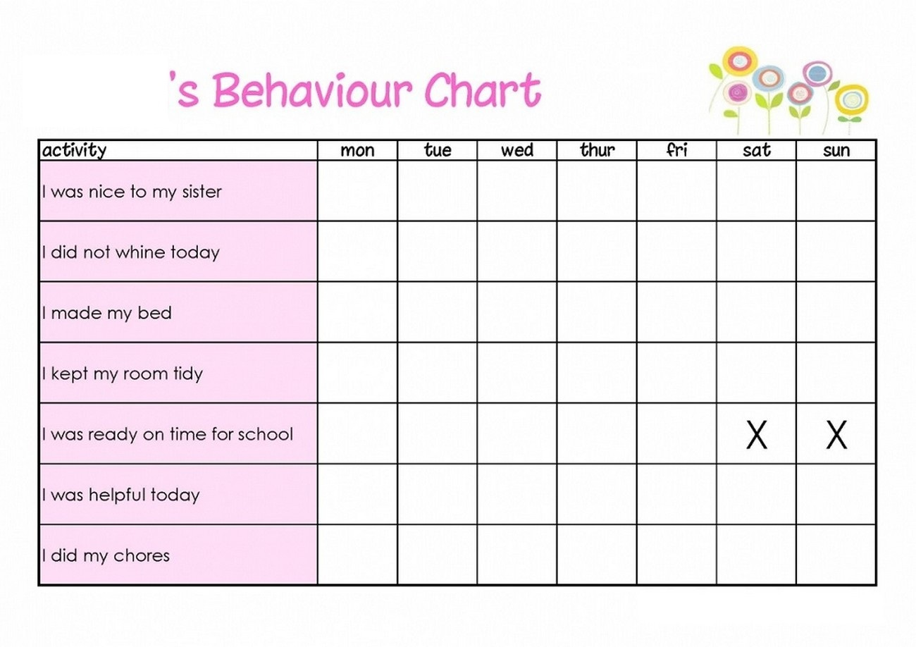behavior reward chart kids