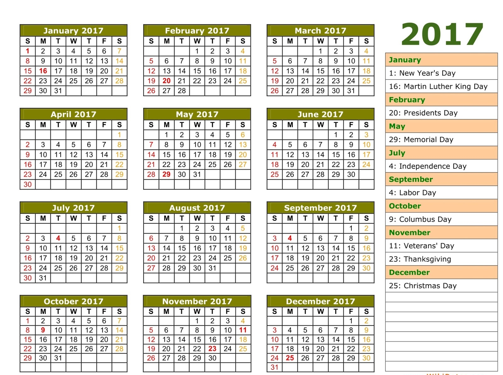 2017 Calendar with Holidays complete