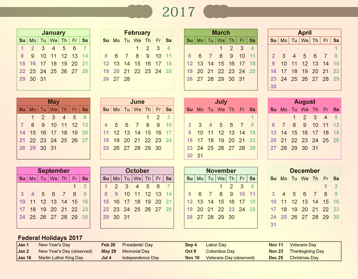 2017 Calendar with Holidays image