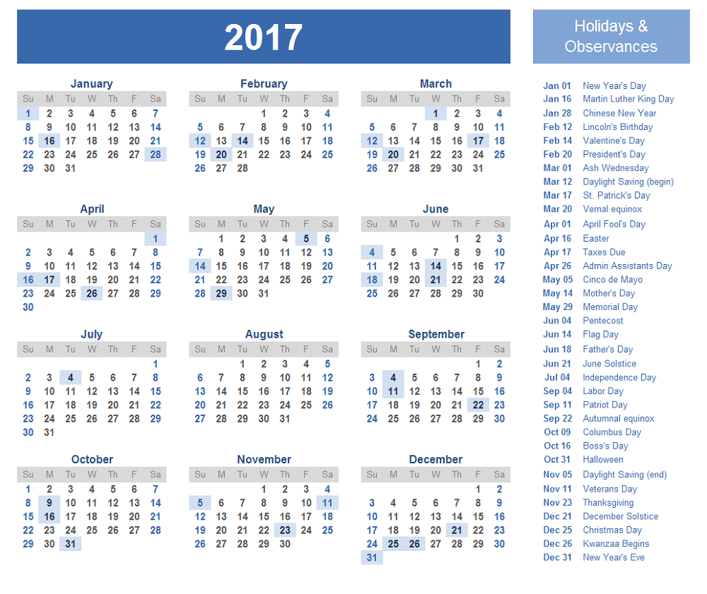 2017 Calendar with Holidays page