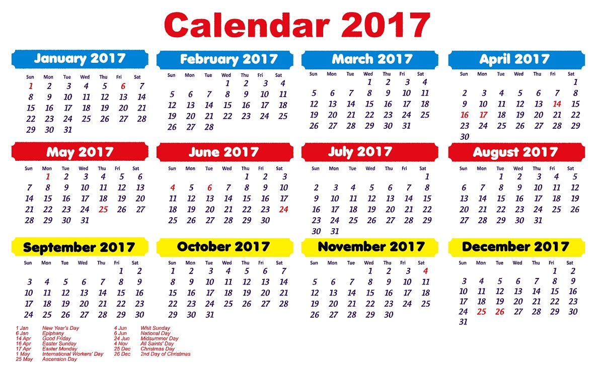 2017 Calendar with Holidays picture