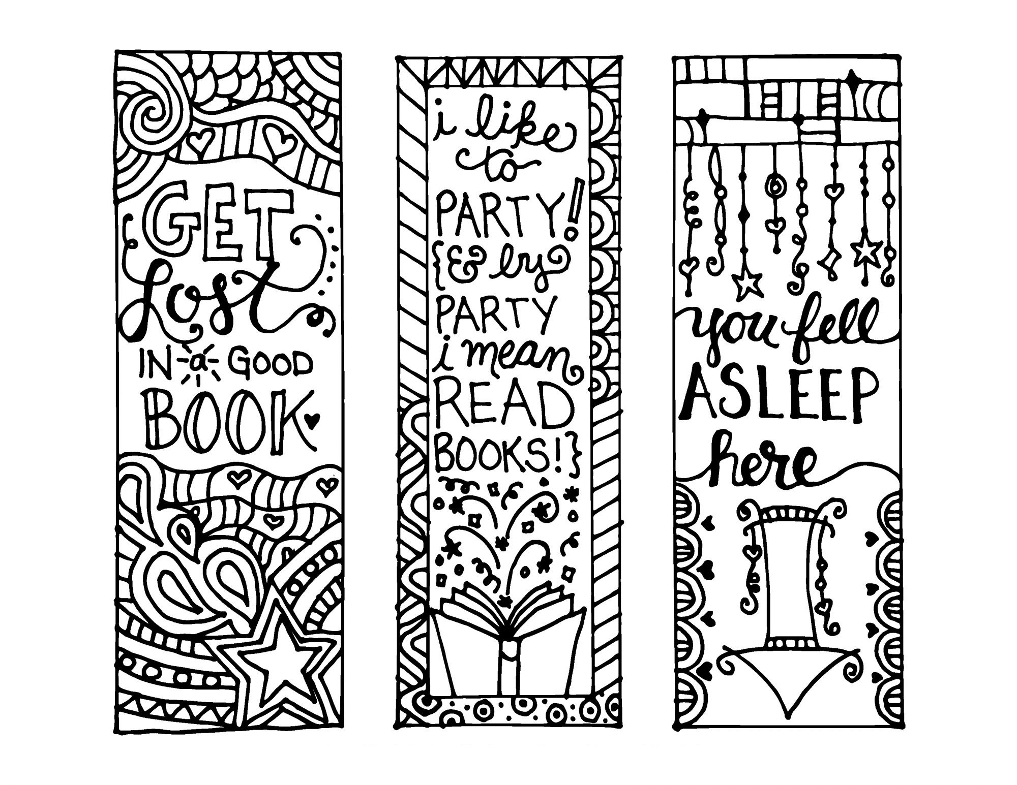 Printable Bookmarks to Color In free