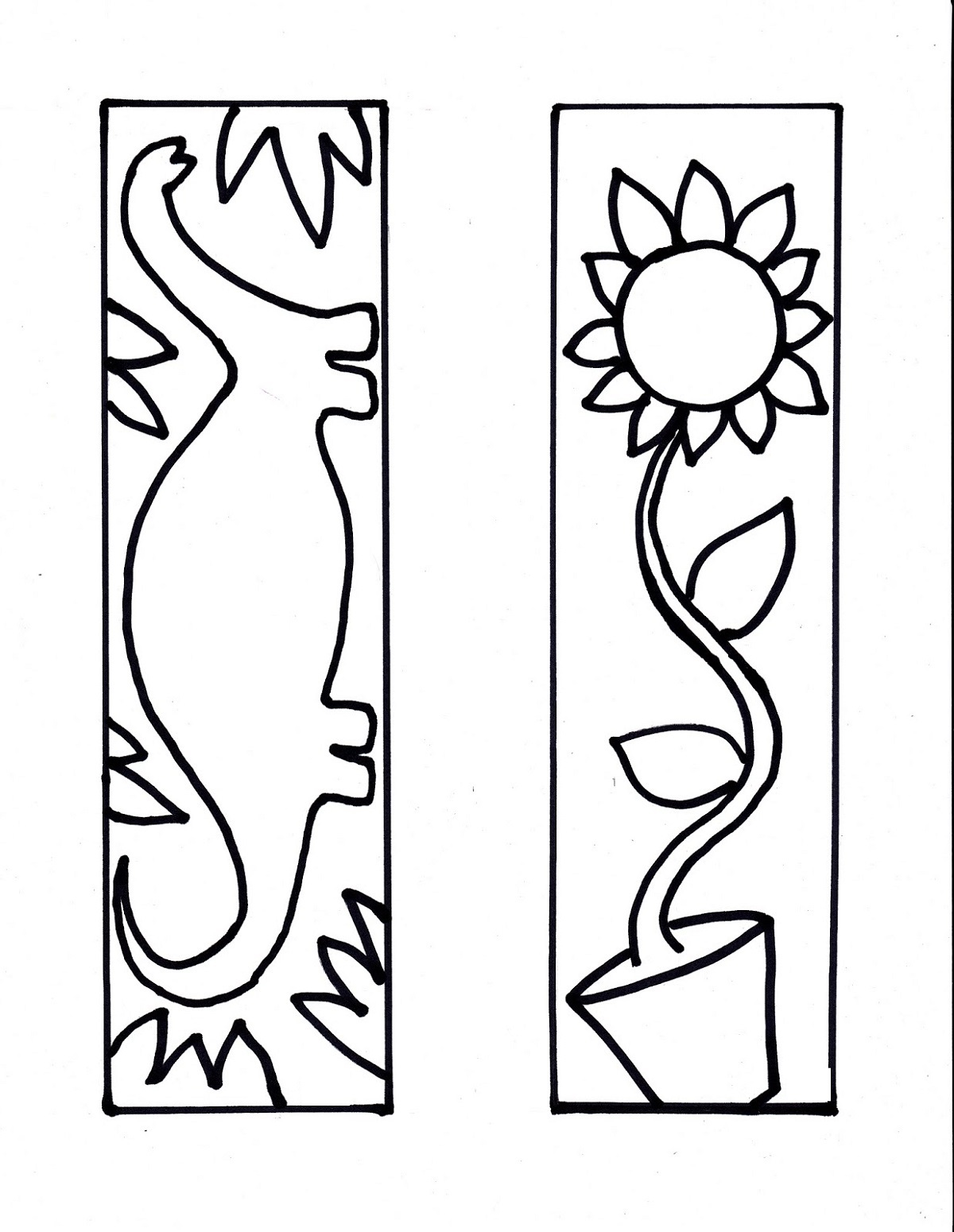 Printable Bookmarks to Color In sheet