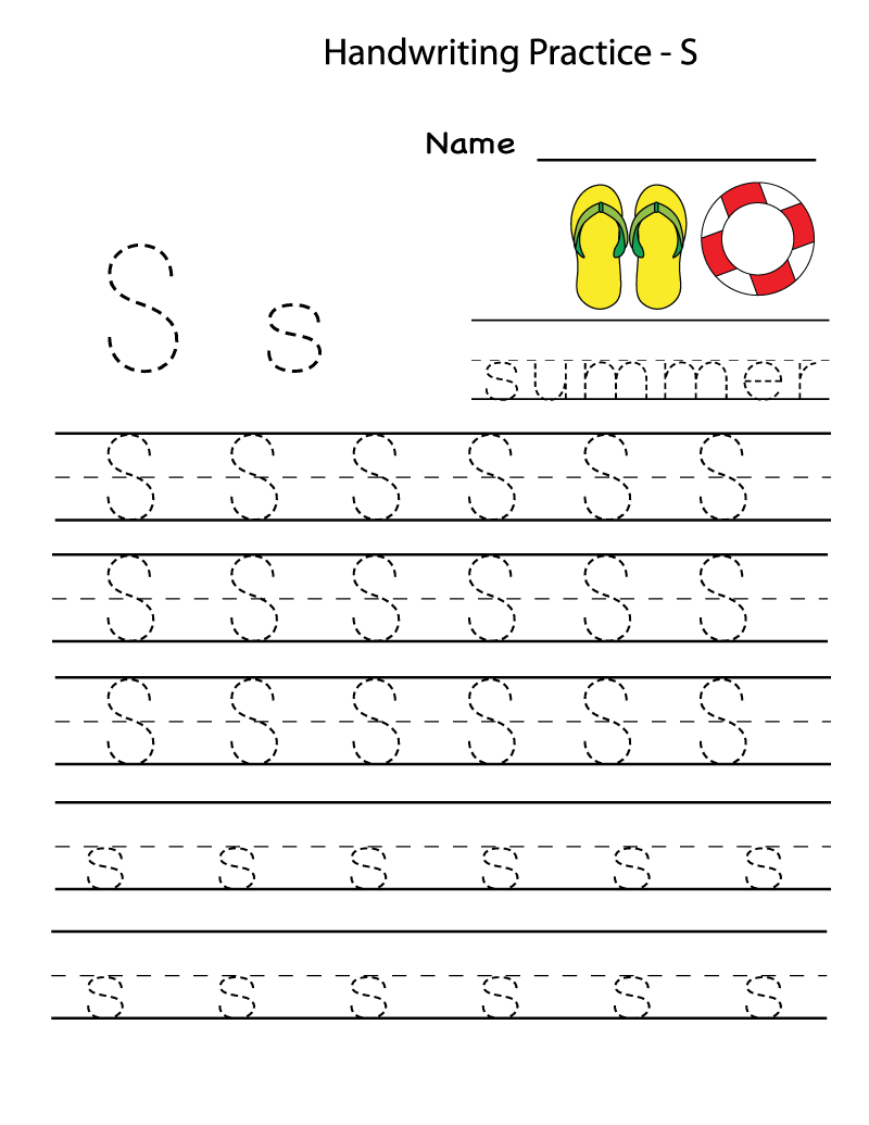 S worksheets tracing