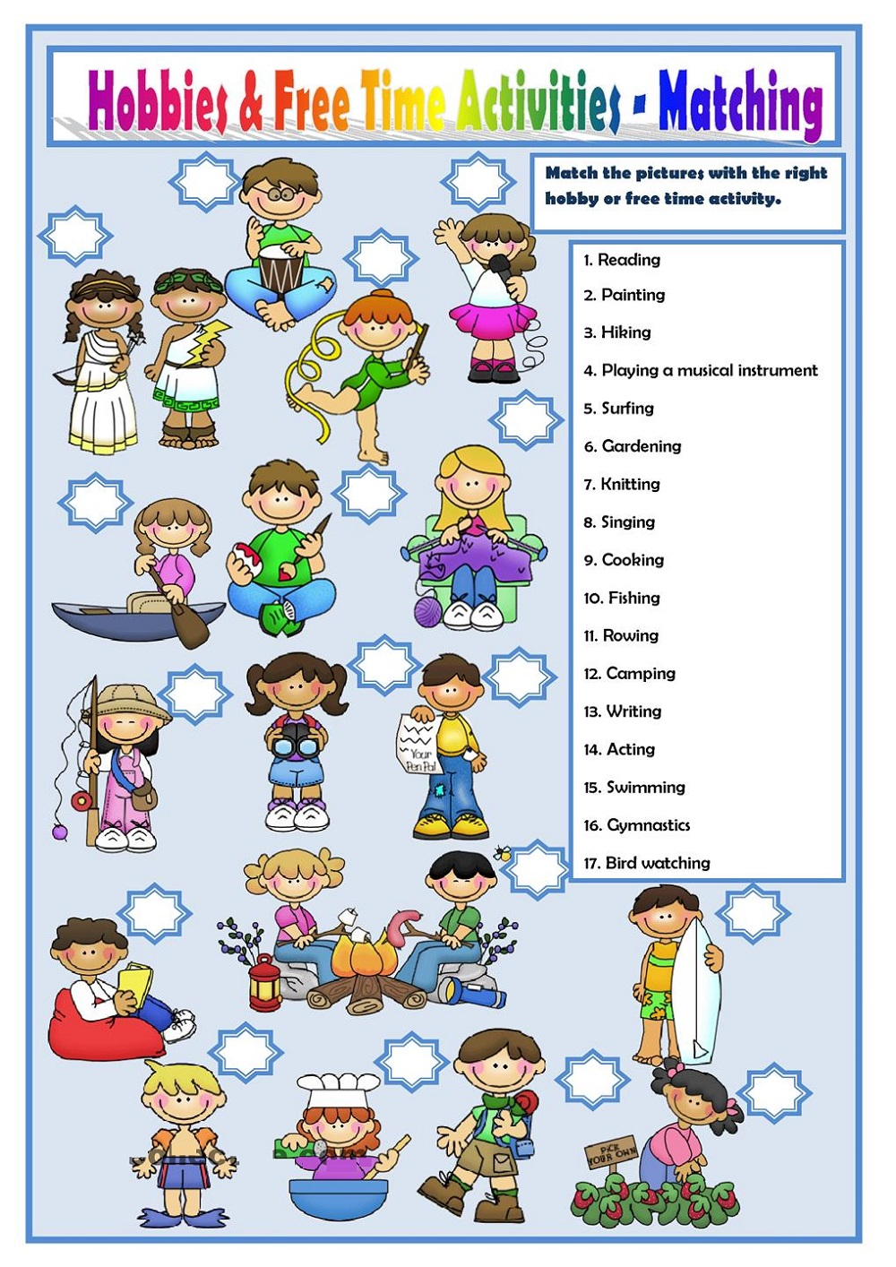 Hobby Worksheets Activity for Kids | 101 Printable