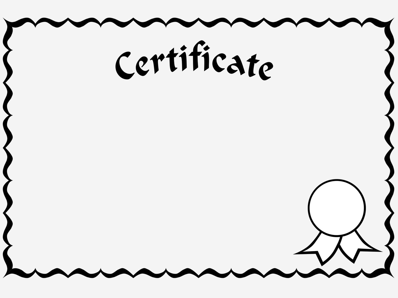 certificate for printing blank