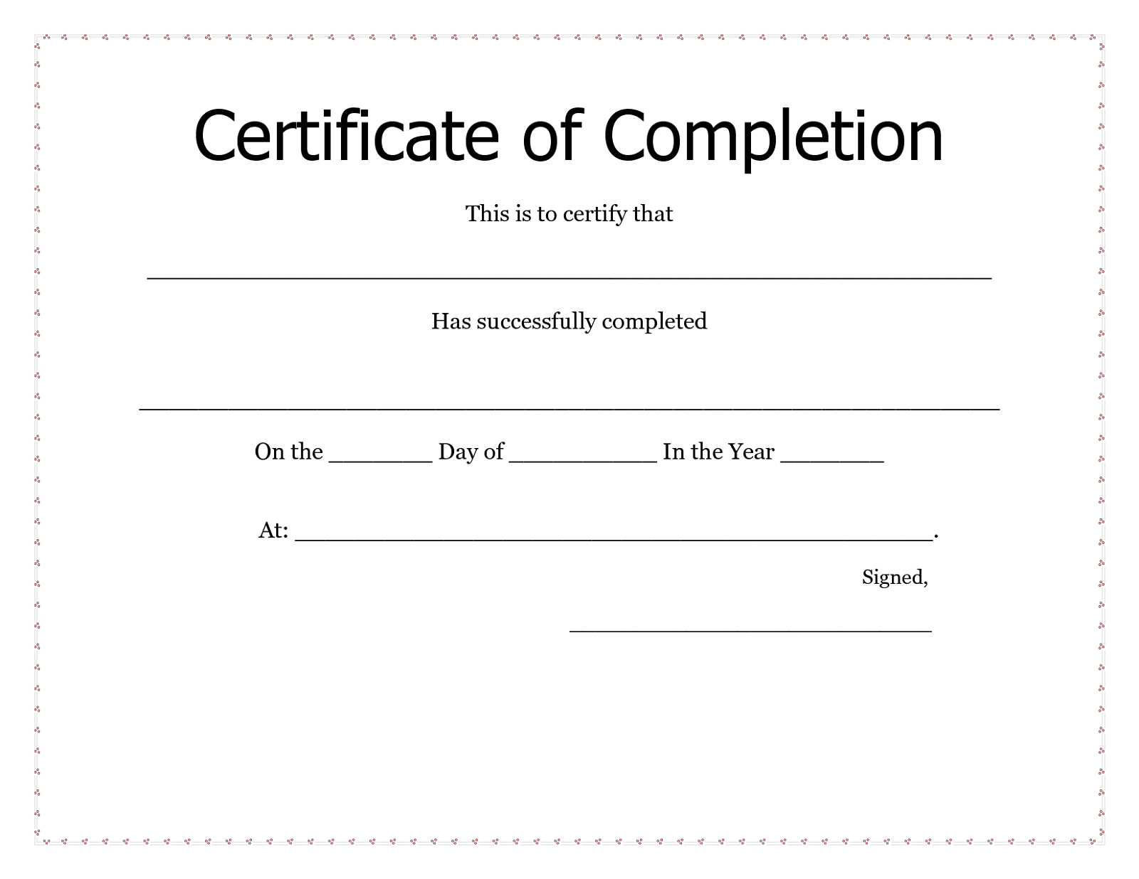certificate for printing simple