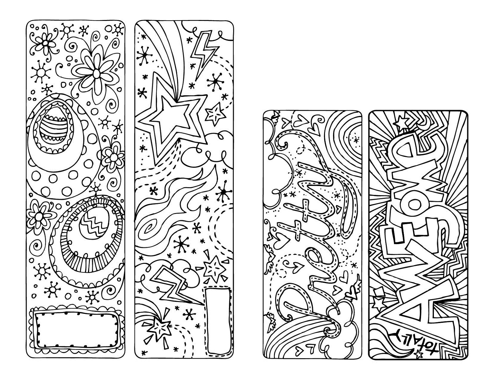 color your own bookmark fun