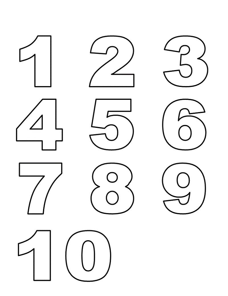 preschool numbers 1-10 list