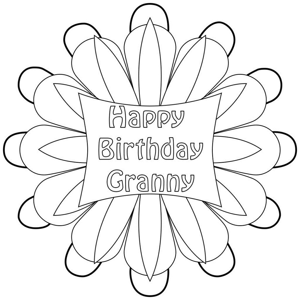happy birthday grandma coloring pages easy