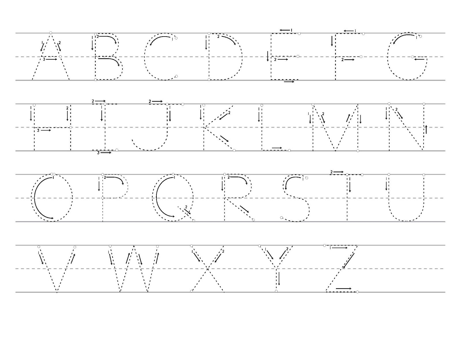alphabet tracer pages printable